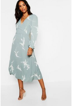 Sage green Tall Floral Print Wrap Midi Dress