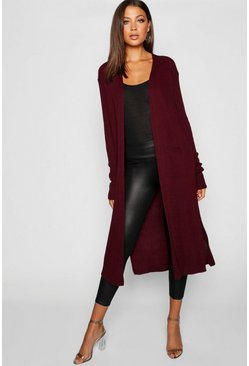 Wine red Tall Side Split Maxi Cardigan