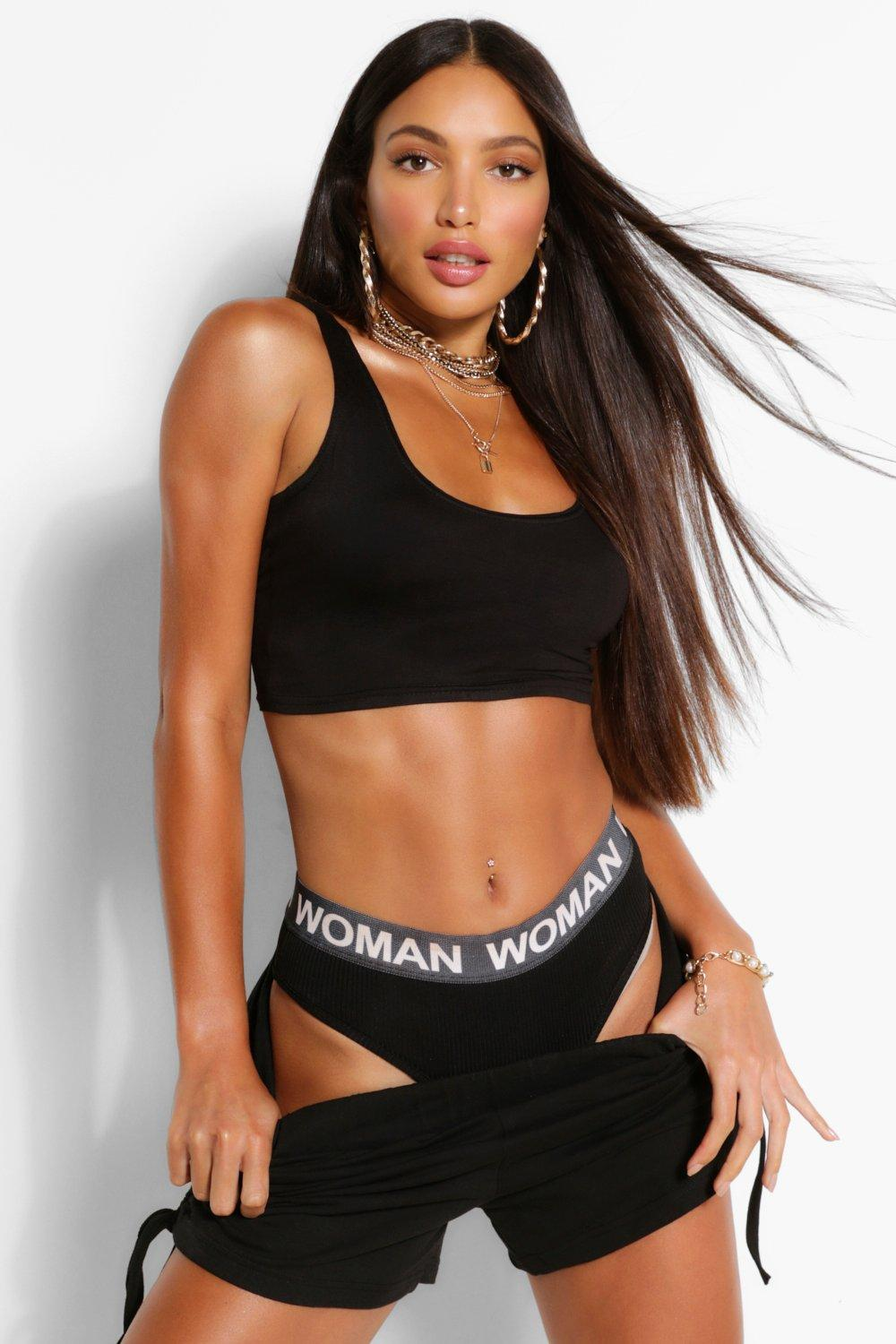 Tall Clothing Black Tall Basic Scoop Neck Crop Top