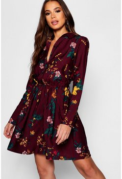 Berry red Tall Stripe Floral Shirt Dress