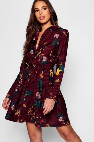 Berry red Tall Stripe Floral Shirt Dress