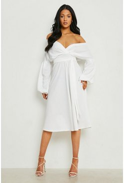 Ivory white Tall Off The Shoulder Blouse
