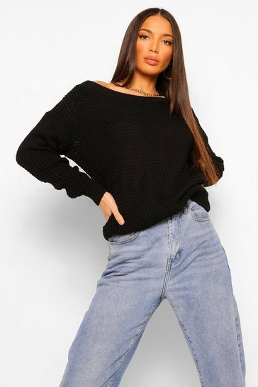 Black Tall Slash Neck Jumper