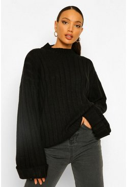 Black Tall Wide Rib Turn Up Cuff Jumper