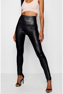 Black Tall Wet Look Leggings
