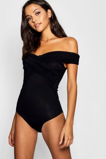 Black Tall Bardot Ruched Detail Bodysuit