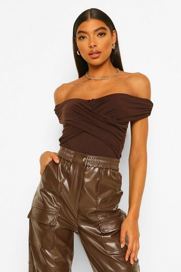 Chocolate brown Brown Tall Bardot Ruched Detail Bodysuit