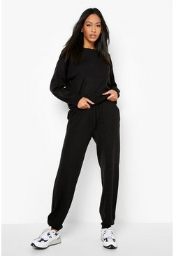 Black Tall Slash Neck Knitted Lounge Set