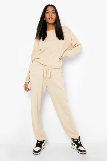 Stone beige Tall Slash Neck Knitted Lounge Set