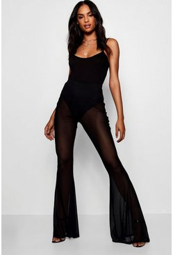 Black Tall Sheer Mesh Flares