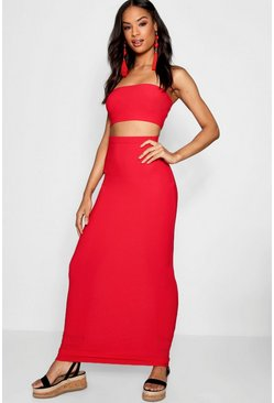 Red Tall Basic Jersey Maxi Skirt