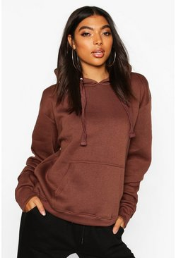 Chocolate brown Tall Solid Oversized Hoody