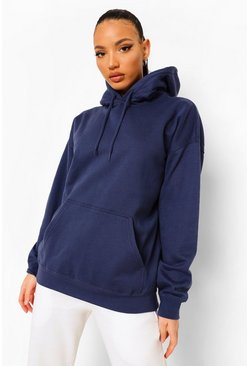 Navy Tall Oversized Hoody