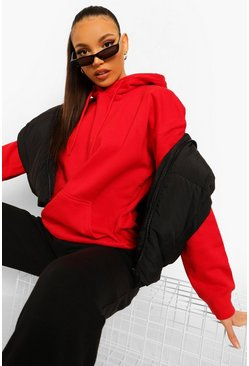 Red Tall Oversized Hoody