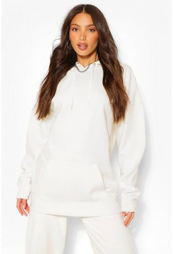 White Tall Solid Oversized Hoody