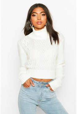Cream vit Tall Roll Neck Cable Knit Jumper