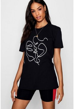Black Tall Sketch Face Print T-Shirt