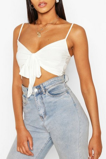 Ivory Tall Tie Front Crop Top