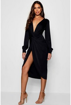 Black Tall Olivia Wrap Front Slinky Midi Dress