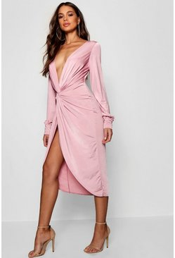Powder pink pink Tall Olivia Wrap Front Slinky Midi Dress