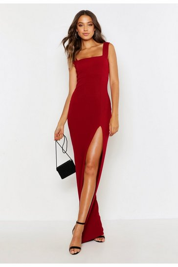 Berry red Tall Square Neck Side Split Maxi Dress