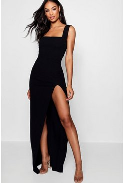 Black Tall Square Neck Side Split Maxi Dress