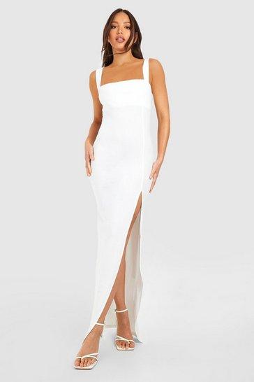 White Tall Square Neck Side Split Maxi Dress
