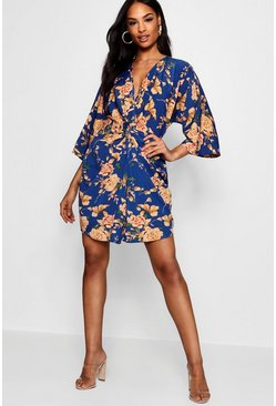 Blue Tall Floral Knot Front Kimono Dress