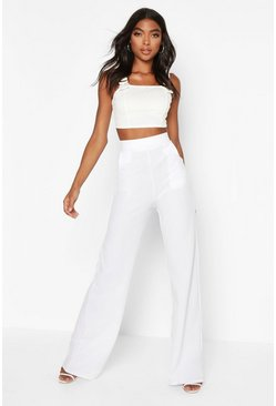White Tall High Waisted Trousers