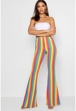 Red Tall Rainbow Stripe Flares
