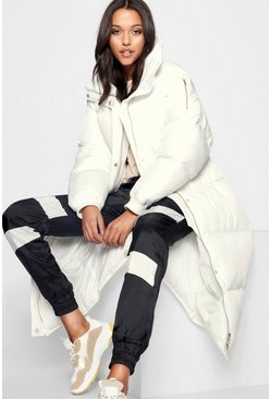 White Tall Longline Padded Coat