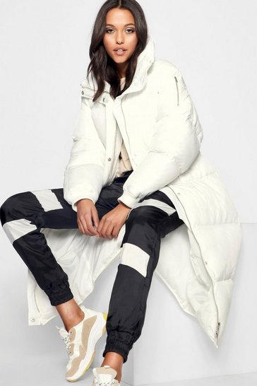 White Tall Longline Padded Coat