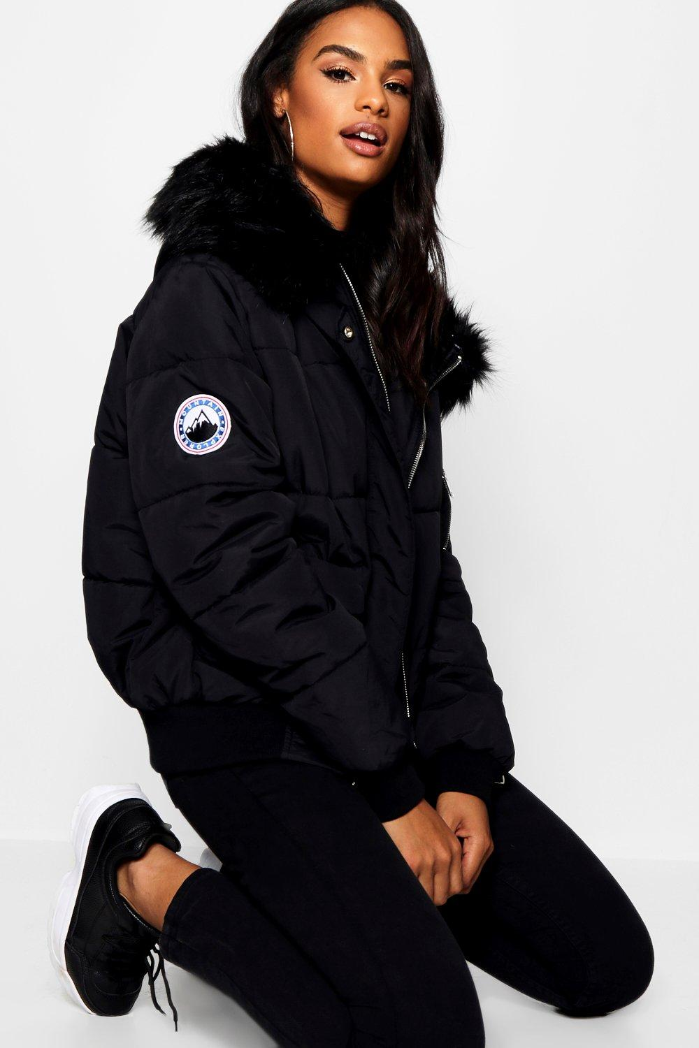Puffer Jackets Tall Contrast Faux Fur Padded Crop Jacket