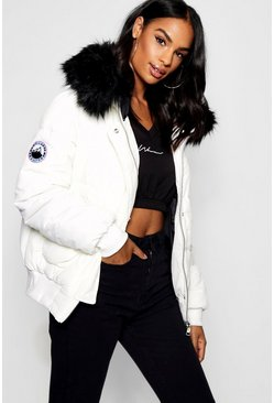 White Tall Contrast Faux Fur Padded Crop Jacket