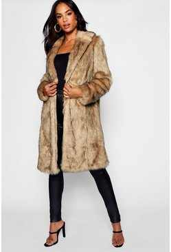 Natural beige Tall Faux Fur Coat