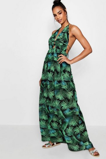 Leaf green green Tall Plunge Front Palm Print Maxi Dress