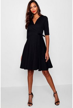 Black Tall  Wrap and Skater Dress