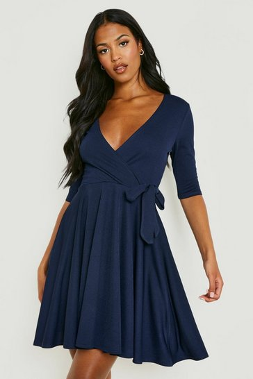 Navy Tall  Wrap and Skater Dress