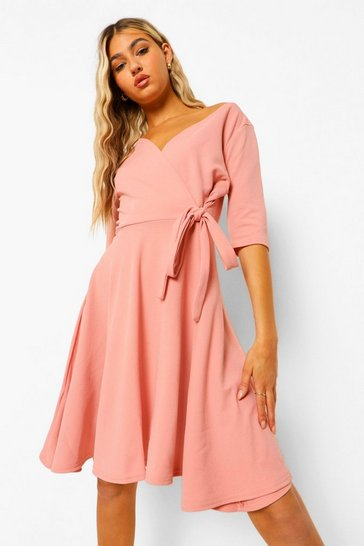 Pink Tall  Wrap and Skater Dress
