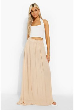 Stone beige Tall Woven Shirred Waist Maxi Skirt