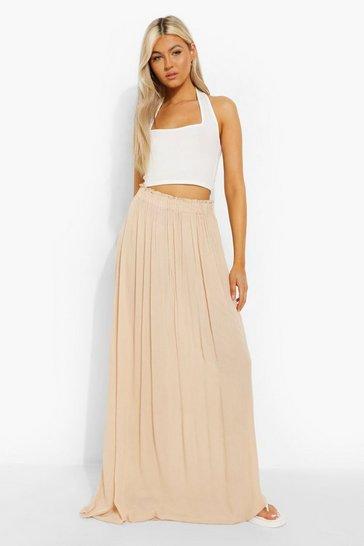 Stone beige Tall Woven Shirred Waist Maxi Skirt