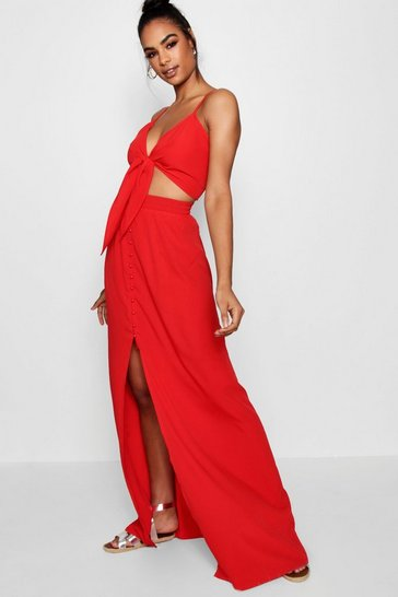Red Tall Tie Front Top And Maxi Skirt Co-ord