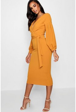Amber orange Tall  Off The Shoulder Wrap Midi Bodycon Dress