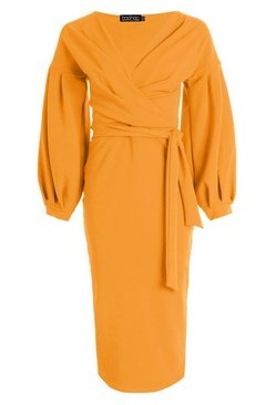 Amber Tall  Off The Shoulder Wrap Midi Bodycon Dress