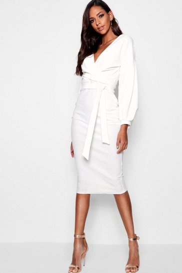Ivory white Tall  Off The Shoulder Wrap Midi Bodycon Dress