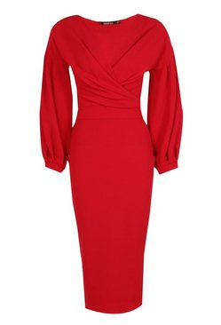 Red Tall  Off The Shoulder Wrap Midi Bodycon Dress