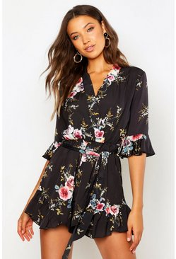 Tall  Floral Ruffle Detail Playsuit, Black nero