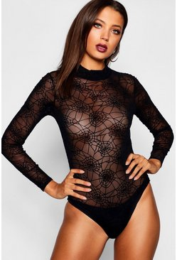 Black Tall Maisie Halloween Spider Web Mesh Bodysuit