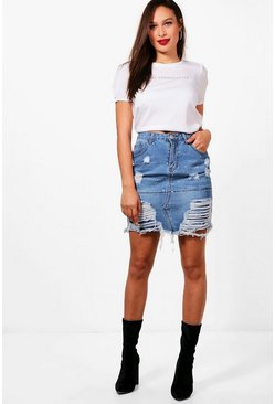 Mid blue blue Tall  Distressed Diamante Denim Skirt
