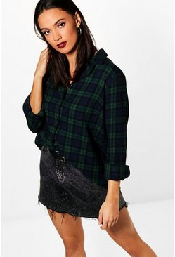 Green Tall  Checked Shirt